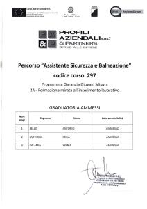 Graduatoria ammessi Assistente sicurezza e balneazione